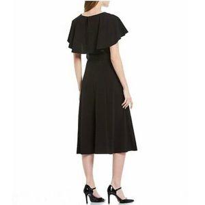 NWT {Calvin Klein} Black Belted Cape Midi Dress